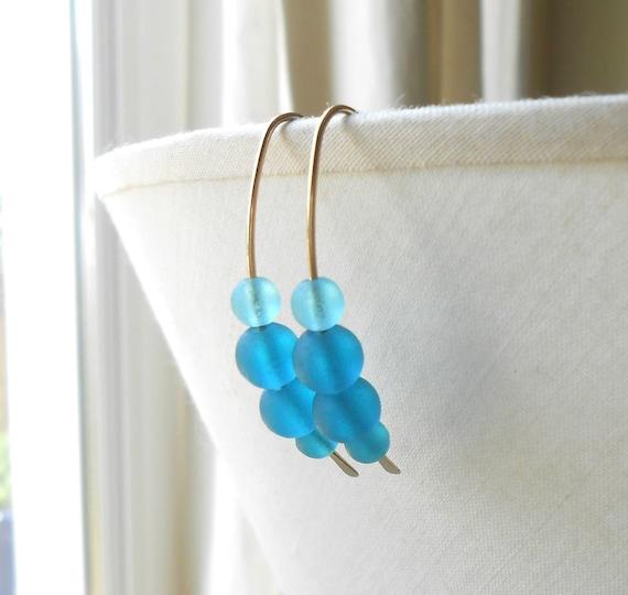 Open Gold Hoop Earrings, Teal Glass Beads on Wire Hoops, Beach Glass Earrings