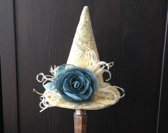 Versailles Witches Mini Hat, Yellow Tapestry French Blue, Feather Halloween Fascinator