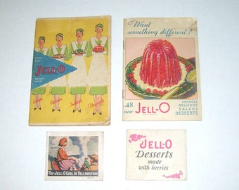 Lot of Four Jell-O Recipe Booklets and Cards from the 1920s and 1930s