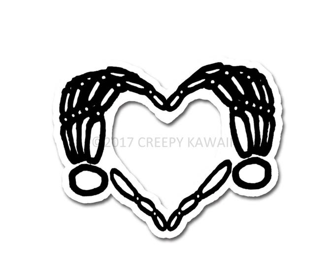 Skeleton Heart Hands - 3 Inch Weatherproof Vinyl Sticker