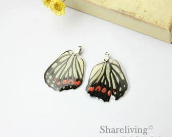 4pcs Handmade Real Butterfly Wing Charm / Pendant, Cover Resin with Silver Bail, Perfect for Earring / Necklace - RW003J