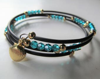 Seashell Ocean Blue Zircon Crystal and Black Beaded Memory Wire Bracelet - BeadedTail - Average size