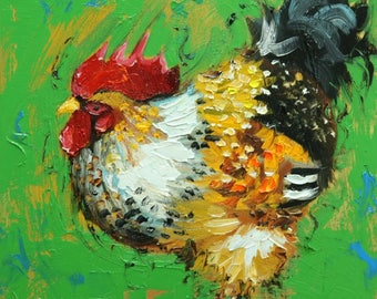 Rooster 871 12x12 inch animal portrait original oil painting by Roz