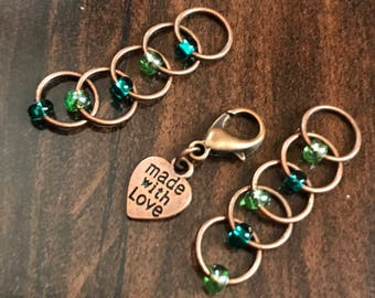 Red Copper Ring Stitch Markers, Made with Love Progress Keeper, ring markers, notions, steampunk, knitter gift, Clip on Charm