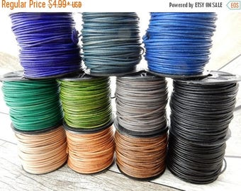 Summer Flash Sale Natural Dye 2mm Leather Cords, Round Leather Cords Leather Cording, Blue, Green, Brown, Gray or Black Leather Cords, Qty 4