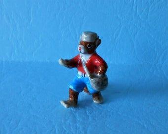 Miniature Chipmunk Figurine, Johnny Appleseed Porcelain Figurine,Miniature Garden Chipmunk, Little Critterz, Collectible Figurine