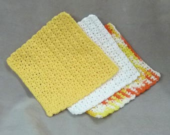 Dish cloths Wash cloths 100% cotton - yellow