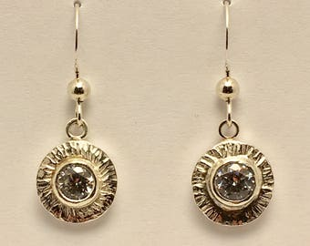 Small Sunflower Drop Earring With 5mm Cubic Zirconia and Hand Hammered Texture