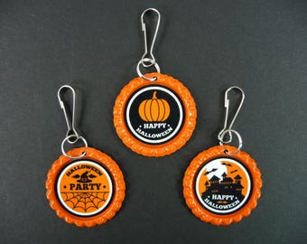 ZIPPER PULLS Happy Halloween Tags Bottle Caps Lanyard Hooks Backpacks Coats Jackets Diaper Bags Purse School Daycare Babysitter Kids Adults