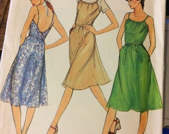 Uncut Vintage 1980's Sewing Pattern Butterick 3724 Misses' Sundress or Jumper Size 8-12, Bust 30-34 inches UNCUT