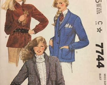 Uncut 80's Misses'  Lined Jackets Sewing Pattern McCall's 7744 Bust 34 Size 12  Complete UNCUT