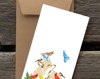 Fox and Birds -- 8 Blank flat cards and envelopes