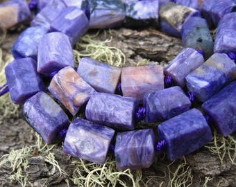 Charoite beads matte tube barrel full strand designer semiprecious gemstones