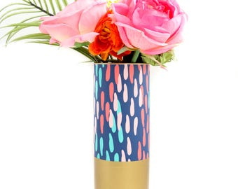 Navy Confetti Dots Flower Vase With Gold Base - Pattern Wrapped