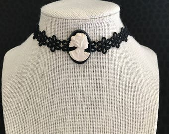 Black lace choker with vintage cameo centerpiece - Necklace, OOAK, gift, unique, cool, victorian, modern