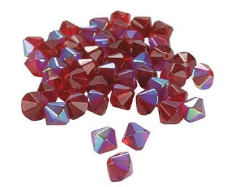 Garnet Aurora Borealis Crystal Bicone Beads, 8mm with 1mm hole, pack of 48