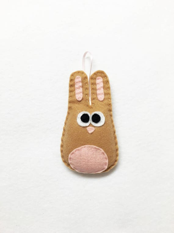 Rabbit Ornament, Bunny Ornament, Christmas Ornament, Beth the Tan Bunny - Made to Order, Woodland Animal, Felt Animal, Forest Creature