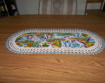 Crochet Table Runner Unicorns Rainbows Best Doilies Fabric Table Runner Crocheted Centerpiece Table Topper Table Cloth Dresser Scarf Gift