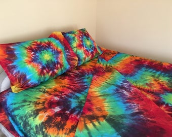 Sheets Tie Dyed in Black Rainbow Mandala, Twin, Full, Queen and King