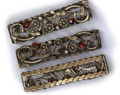 vintage ART NOUVEAU STYLE metal findings with flowers and rhinestones sturdy ornate ooak design antique finding