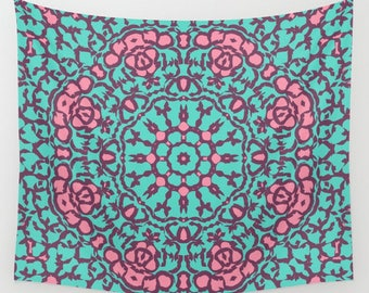 mandala fabric wall tapestry- pink and aqua- dorm room decor- wall art- modern wall hanging- pretty mandala wall decor- home decor