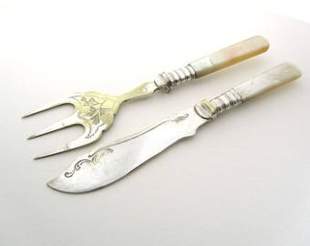 Pearl Handled Knife and Toast Fork, Vintage Mother of Pearl Cutlery, Traditional Silverware, British Vintage