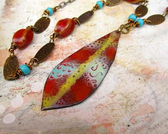 Long Necklace beauty gift Boho Necklace Sweater Necklace Tomato Red Leaf Pendant Enamel Jewelry Necklace Set