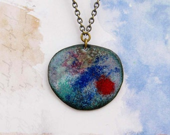 Bohemian necklace Nebula pendant necklace Enamel jewelry