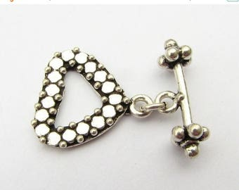 SHOP SALE Dotted Fancy Heart Bali Sterling Silver Toggle Clasp with Flat Circle Design (1 set)