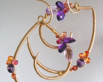 Curvy Gemstone Earrings, Amethyst and Sapphire, 14k Gold Filled Curled Dangles, Wire Wrapped, Lightweight, Artisan Made, Modern Design