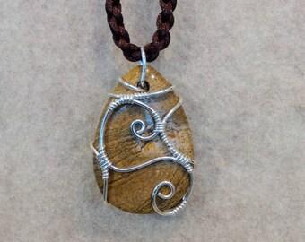 Wood Jasper Pendant in Sterling Silver