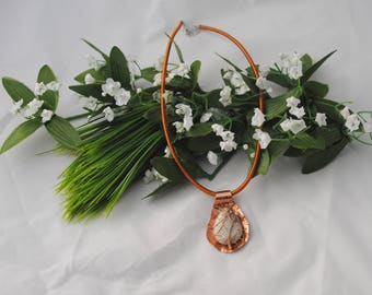 Limestone and Copper Pendant - Hammered copper pendant - Statement pendant - Copper and stone pendant - Copper leaf pendant - Wirewrapped