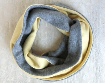 Cashmere Infinity Scarf, Eco Friendly Repurposed Cashmere Sweater Scarf, Gray and Yellow