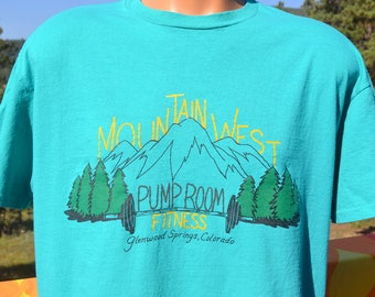 vintage 80s tee shirt MOUNTAIN pump room fitness workout gym t-shirt XL Large colorado