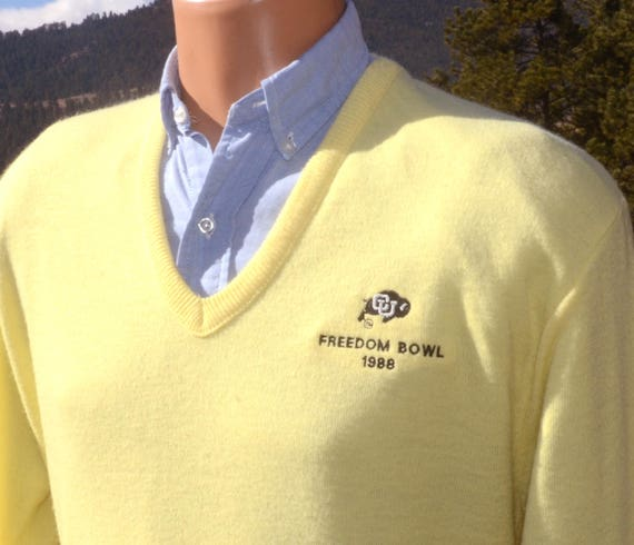 vintage 80s v-neck sweater university COLORADO buffaloes cu freedom bowl 88 football XL Medium soft