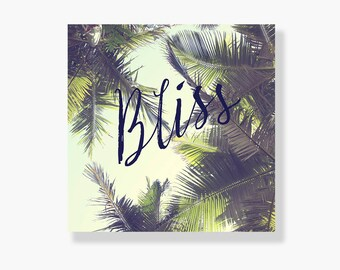 Palm tree canvas gallery wrap, coastal decor, typography wall art, green, summer wall art, coastal wall art, palm tree wall art - Bliss