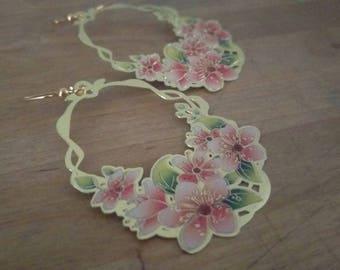 Blushing Bloom Lightweight Drop Gold Plated Handmade Enamel Earrings FREE SHIPPING