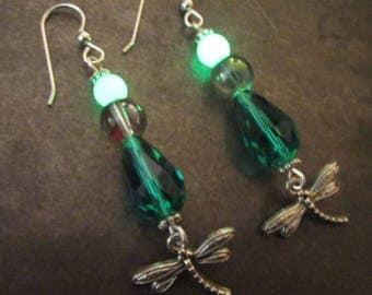 Dragonfly Earrings, Emerald Crystal Teardrops, Glow in the Dark Beads, Rainbow Glass Bubble, Glowing Jewelry, Sterling Silver Hooks, Glowies