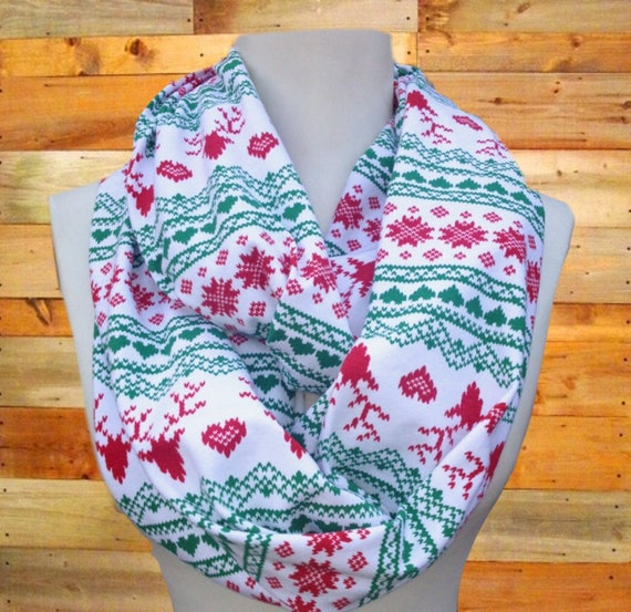 Fair Isle Infinity Scarf Reindeer Heart Snowflake scarf White