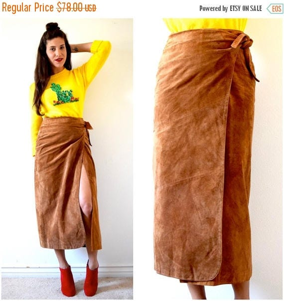 SUMMER SALE / 20% off Vintage 80s 90s Brown Suede High Waisted Wrap Around Pencil Skirt (size small, medium)