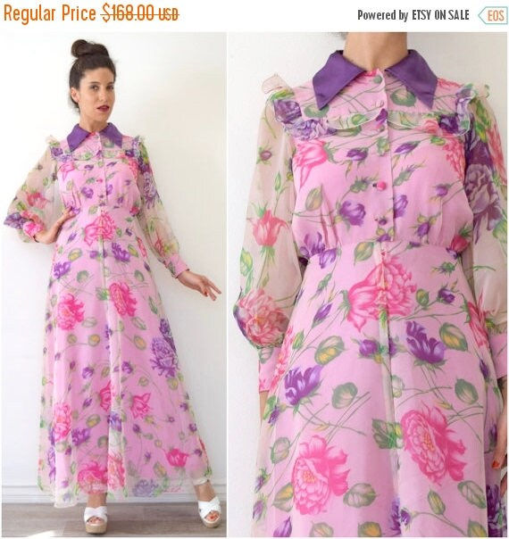 SUMMER SALE/ 30% off Vintage 70s does 30s Pink and Purple Floral Collared Maxi Dress with Sheer Poet Sleeves (size xs, small)