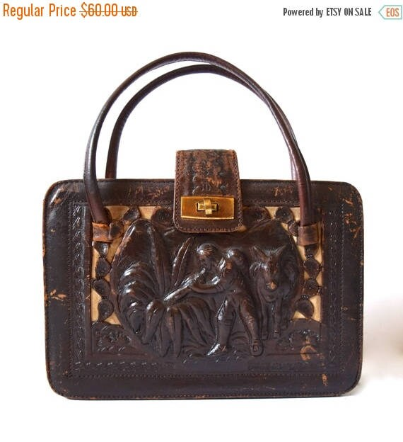 SUMMER SALE/ 30% off Vintage 40s 50s Chocolate Brown Tooled Leather Handbag