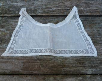 Vintage Antique Victorian /Edwardian French cream organdi cotton  + thin lace collar