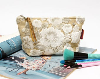 White Velvet Cosmetic Bag, Floral Makeup bag, cosmetic pouch, tapestry bag, vintage fabric bag handmade by EllaOsix