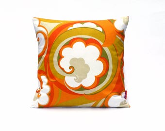 70s Throw Pillow 16x16 - Retro Cushion Cover - Orange Pillow Cover - Mid Century Couch Pillow Handmade by EllaOsix