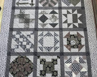 Black/Gray/White Sampler Quilt