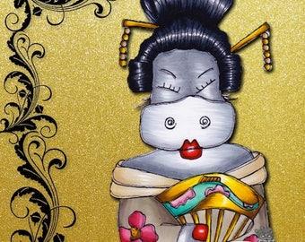 1730 Geisha Hippo Digi Stamp