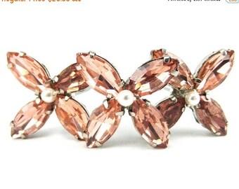30% OFF SUMMER SALE Pink Rhinestone Hydrangea Hair Pins - Pink Hydrangea Hair Accessories