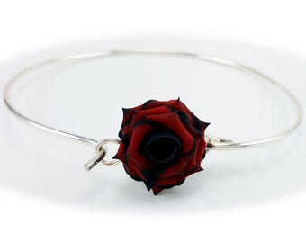 Tipped Rose Bracelet Sterling Silver Bangle - More Colors, Tipped Rose Jewelry