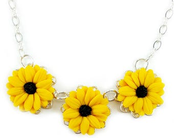 Three Black Eyed Susan Necklace - Trio Black Eyed Susan Jewelry, Coneflower Filigree Necklace, Yellow Coneflower